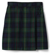 Lands' End Juniors Plaid A-line Skirt Below the Knee-Classic Navy/Evergreen Plaid