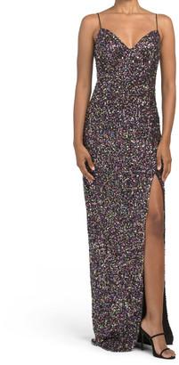 Harrah Sequin Slit Gown