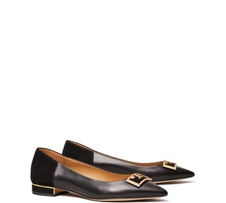 Tory Burch Gigi Mixed-Material Pointed-Toe Flat