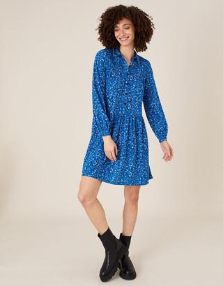 Monsoon Suki Printed Shirt Dress with Organic Cotton Blue