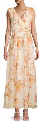 Karl Lagerfeld Paris Floral-Print Tie-Waist Ruffle Dress