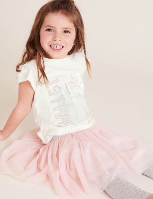 Marks and Spencer Pure Cotton Ballet All Day Slogan T-Shirt (2-7 Yrs)