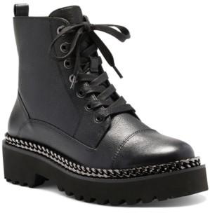 Vince Camuto Women's Mindinta Lace-Up Lug Sole Combat Booties Women's Shoes