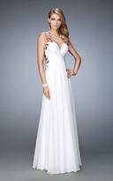 La Femme 22610 Sleeveless Floral Applique Evening Gown
