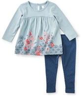 Tea Collection 'Yoko' Long Sleeve Tee & Leggings Set (Baby Girls)