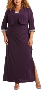 R & M Richards Plus Size Embellished Gown & Jacket