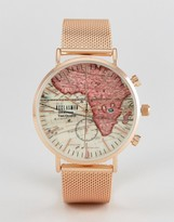 Reclaimed Vintage Inspired Map Mesh Watch In Rose Gold Exclusive To Asos
