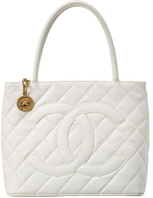 Chanel White Quilted Caviar Leather Medallion Tote