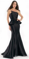 Morrell Maxie Asymmetrical Strapless Pleated Mikado Evening Dress