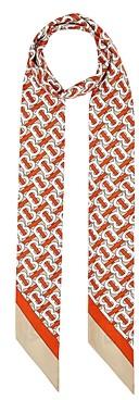 Burberry Monogram & Logo Print Silk Skinny Scarf