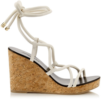 Jimmy Choo ALLIS 95 Latte Cork Wedge Sandal with Nappa Leather Straps