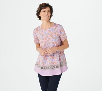 Logo by Lori Goldstein Cotton Modal Mixed Print Top w/ Crochet