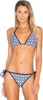 Shoshanna Geo Ikat Triangle Top in Navy. - size B-C (also in C-D)