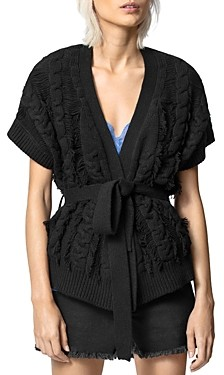 Zadig & Voltaire Corry Cows Cable-Knit Wrap Cardigan