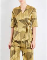 AIMEE Striped jacquard silk-blend pyjama shirt