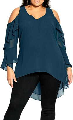 City Chic High/Low Chiffon Cold Shoulder Tunic