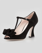 Miu Miu Suede Bow T-Strap Sandal