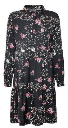 Dorothy Perkins Womens Only Black Floral Print Shirt Dress, Black