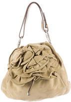 Saint Laurent Rosette Suede Flower Shoulder Bag