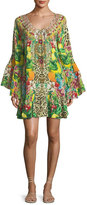 Camilla Scoop-Neck A-Line Printed Frill Mini Dress