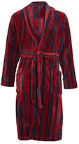 John Lewis Printed Stripe Fleece Robe, Burgundy