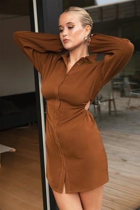 Nasty Gal Womens Lights Cut-Out Mini Shirt Dress - Chocolate