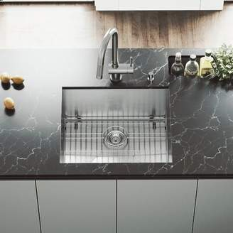 "Ludlow VIGO 23"" L x 20"" W Undermount Kitchen Sink with Faucet, Grid, Strainer and Soap Dispenser VIGO"