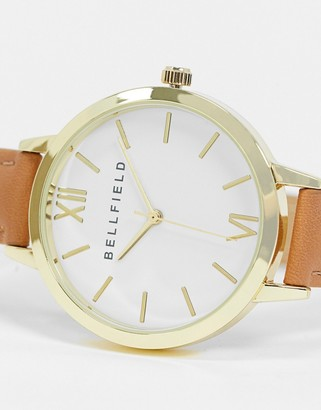Bellfield brown strap watch with white dial