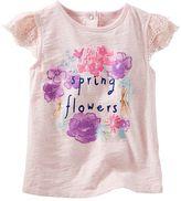 "Osh Kosh Toddler Girl Spring Flowers"" Lace Cap Sleeve Slubbed Tee"
