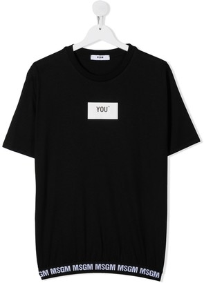 Msgm Kids TEEN elasticated-hem cotton T-shirt