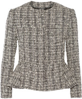 Alexander McQueen Cotton And Wool-blend Tweed Peplum Jacket - Black