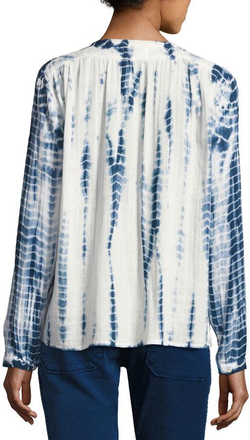 BA&SH Beija Tie-Dye Collarless Shirt, Blue/White