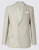 Marks And Spencer Beige Textured Regular Fit Suit
