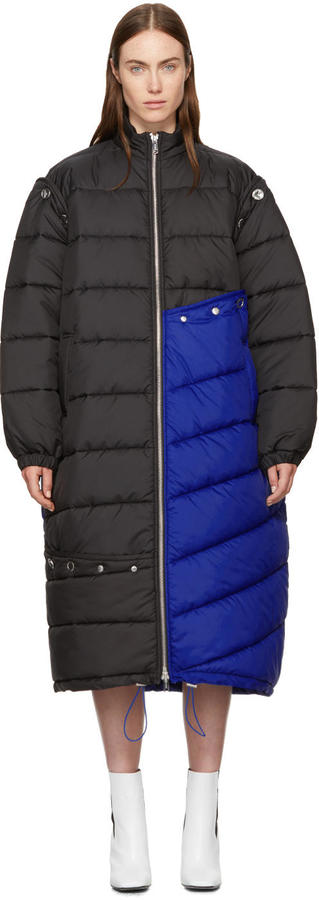 3.1 Phillip Lim Blue and Black Long Colorblock Puffer Coat