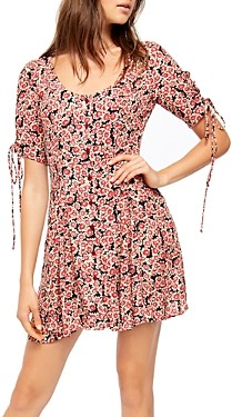 Free People Printed Laced Up Midi Dress