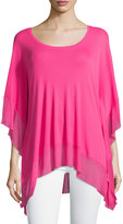 Joan Vass Batwing-Sleeve Mesh-Trim Top, Pink