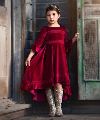 Trish Scully Child Girls' Special Occasion Dresses BURGUNDY - Burgundy Lily Velvet Hi-Low Dress - Girls