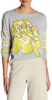 Joan Vass Crew Neck Stripe Sleeve Floral Sequin Sweater