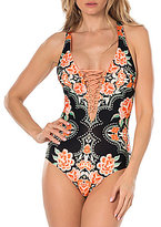 Becca by Rebecca Virtue Southern Belle Plunge Lace Up Neck One Piece