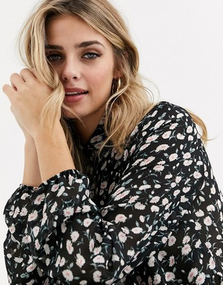 Miss Selfridge shirt with frills in floral print-Black