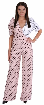 Forever Unique Ladies Pink/White Polka Dot Print Wrap Neck Puff Short Sleeves Jumpsuit XL