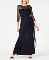 Alex Evenings Illusion Embellished A-Line Gown