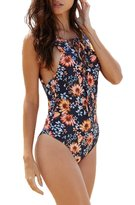 FunnnyRabbbit Women Flower Print Lace Up Front Bandage One Piece Bikini Swimsuit Monokini