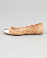 Kate Spade Terry Cork Cap-Toe Ballerina Flat, Natural/Silver