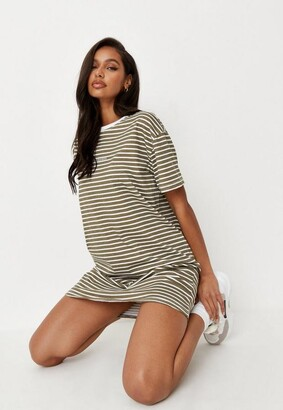 Missguided Khaki Stripe Basic T Shirt Dress