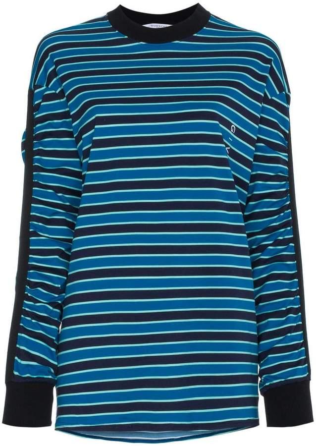 Givenchy stripe gathered sleeve logo print top