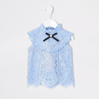 River Island Mini girls light Blue lace frill top