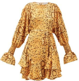 Preen by Thornton Bregazzi Lupita Snake Print Floral-jacquard Mini Dress - Yellow Print
