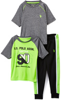 U.S. Polo Assn. Lime & Gray '90' Raglan Tee Set - Infant, Toddler & Boys