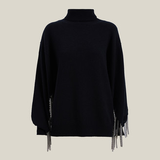 Christopher Kane Black Chain Detail Wool-Blend Jumper S